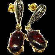 SALE Lovely Garnet Cabochon Diamond 14K Gold Sterling Drop Earrings Fine Vintage