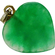 Precious Apple Green Jadeite Jade Heart Charm Pendant