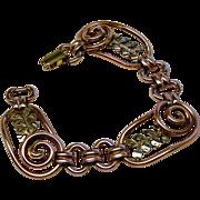 SALE Vintage Rose Green Gold Bracelet Kreisler Modernist