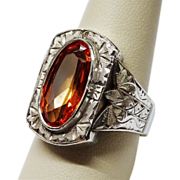 SALE 1920's Huge Chased Silver Ring Synthetic Orange Sapphire