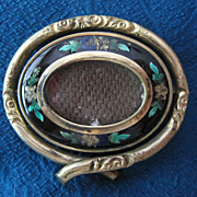 SALE FINAL MARK DOWN! Edwardian Hair Memorial Enamel Brooch Swivel