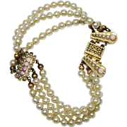 SALE Early 1900's Faux Pearl Opal Bracelet Triple Strand