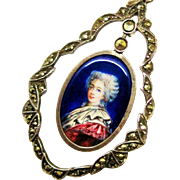 SALE Victorian French Enamel Portrait Pendant Silver Fine