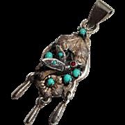 Precious Vintage Bird Pendant Silver Turquoise Aesthetic