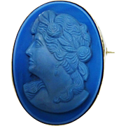 SALE Fabulous Blue Glass Cameo Sterling Brooch Vintage