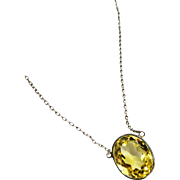 SALE REDUCED!~Pretty Art Deco Citrine Bezel Sterling Necklace 7 Carats Fine