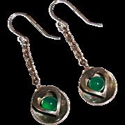 Vintage Chrysoprase Sterling Heart Long Dangle Earrings