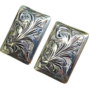 SALE Vintage Silver Chased Earrings Italy Fine