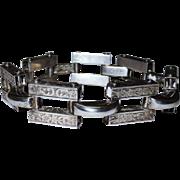 SALE Vintage Deco Sterling Gate Bracelet Embossed Fine