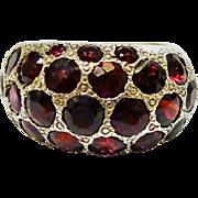 SALE Vintage Garnet Cluster Sterling Silver Dome Ring Fine Modernist