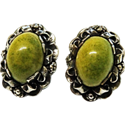 SALE Large Vintage Green Turquoise Cab Sterling Earrings Mexico Fine