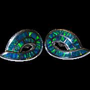 SALE Vivid Gilson Lab Opal Sterling Silver Post Earrings Fine