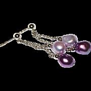 SALE Pretty Purple Lavender Fresh Water Pearl Long Earring Sterling Fine