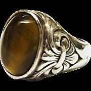 SALE Vintage Tiger's Eye Sterling Silver Ring Fleur de Lis