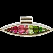 SALE REDUCED!~Rainbow Tourmaline Sterling Pendant Modernist Fine
