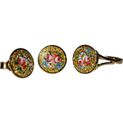 SALE Victorian 18K YG Enamel Floral Button Ring Earrings Set Fine