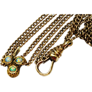 SOLD Victorian Opal Shamrock Gold Longuard Chain Muff Chain