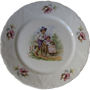SALE SALE - Victorian Porcelain Transfer Plate with Boy & Girl Children