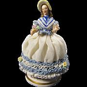 SALE Vintage Signed Muller & Co. Dresden Porcelain Lace Lady Figurine