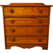 Vintage Oak Wood Chest of Drawers for Doll