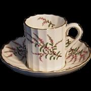 """Vintage Royal Worcester """"Dunrobin"""" Pattern Demitasse Cup & Saucer Set"""