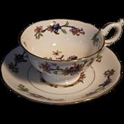 "Rare Vintage Handpainted ""Flower Pot"" Pattern Coalport Cup & Saucer"