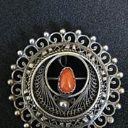 Vintage Signed Sterling Silver & Coral Cannetille Brooch or Pendant