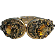 Vintage Art Nouveau Clamper Bracelet with Amber Glass Stones