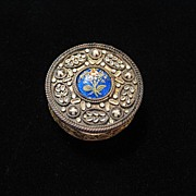 Antique Signed French Gold, Seed Pearl & Handpainted Enamel Box or Pendant