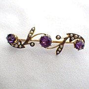 Antique Victorian 9K Gold, Amethyst & Seed Pearl Brooch