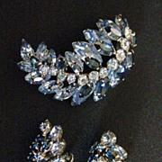 Vintage Signed Sherman Shades of Blue Demi Parure Brooch & Earring Set