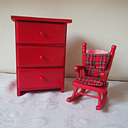 Vintage Red Painted Wood Doll Furniture