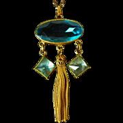 Vintage Czech Glass Tassel Pendant Necklace