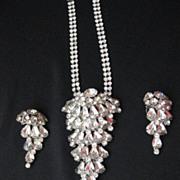 Spectacular Vintage Silver Tone Rhinestone Necklace & Earring Set