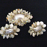Vintage Signed Vendome Demi Parure Mother of Pearl Brooch & Earrings