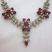 Vintage Silvertone, Clear & Ruby Red Rhinestone Festoon Necklace
