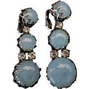 "Rare Vintage Signed ""Christian Dior by Kramer"" Blue Opaline Glass & Rhinestone Dangl"