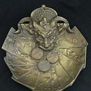 Vintage Devil Head Advertising Bronze Coin Tray