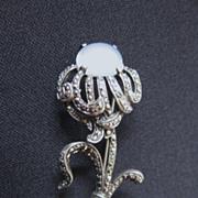 Vintage Signed Sterling Silver, Moonstone & Marcasite Flower Brooch