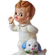 SPECIAL HOLIDAY PRICE - Vintage Josef Original Boy & Dog Christmas Figurine