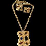 Vintage Mid-Century Demi Parure - Pendant Necklace & Earrings