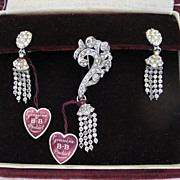 "Vintage ""Jewelry by Dorsons"" Rhinestone Brooch & Earrings in Original Box"
