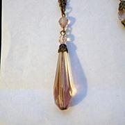 Vintage Pale Pink Glass Sautoir Necklace