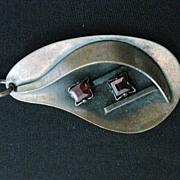 Vintage Signed Genuine Copper & Rhinestone Arts & Crafts Pendant