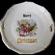 "Antique Porcelain ""Merry Christmas"" Plate"