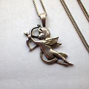 Vintage Sterling Silver Cupid Pendant Necklace