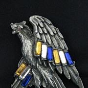 Vintage Large Eagle Pot Metal & Rhinestone Patriotic Brooch or Pin