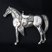 Vintage Signed Sterling Silver Western Horse Brooch or Pin