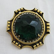 Vintage Gold with Green Rose Cut Rhinestone & Faux Seed Pearl Brooch