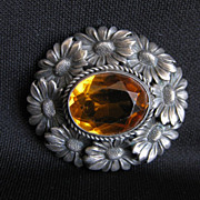 Antique Signed 800 Silver Flower Brooch with Amber Glass Stone
